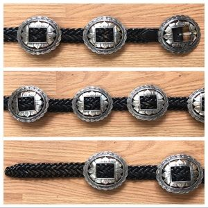 VINTAGE Leather Belt w LG Silver Sunflower Conchos